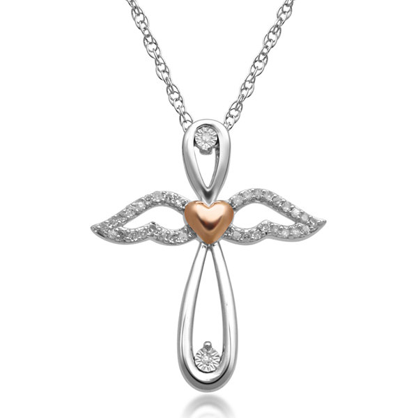 110ct tw crossangel pendant 110 ct tw diamond sterling silver 14k rose gold over silver cross aloadofball Image collections