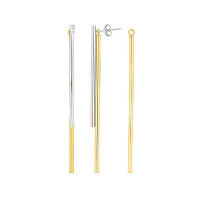 14K Gold Over Sterling Silver Double Bar Drop Earrings