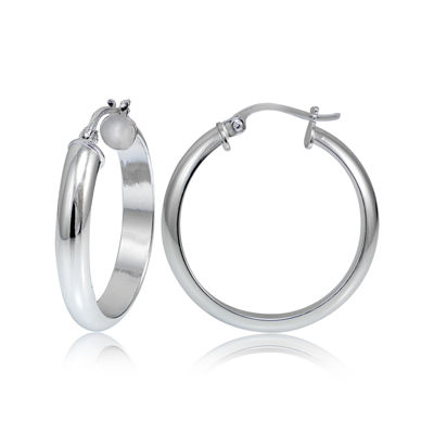 Sterling Silver Half Round 25MM Hoop Earrings