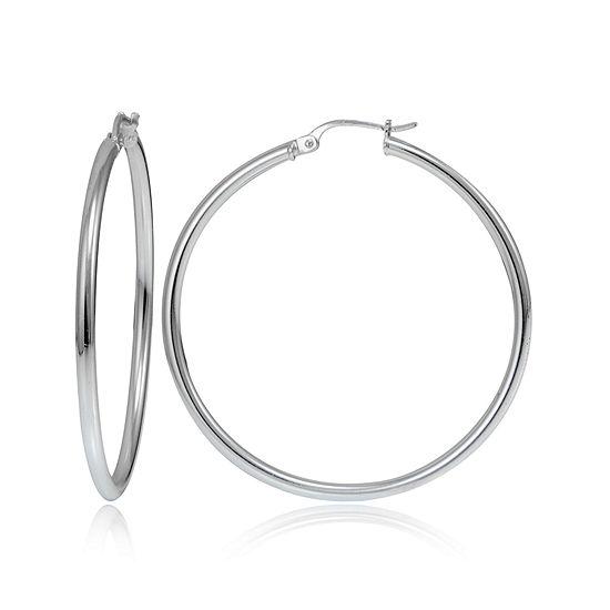 Sterling Silver Smooth Tube 40mm Hoop Earrings