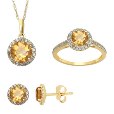 jcpenney.com | Genuine Citrine and Lab Created White Sapphire Earrings, Ring Or Pendant