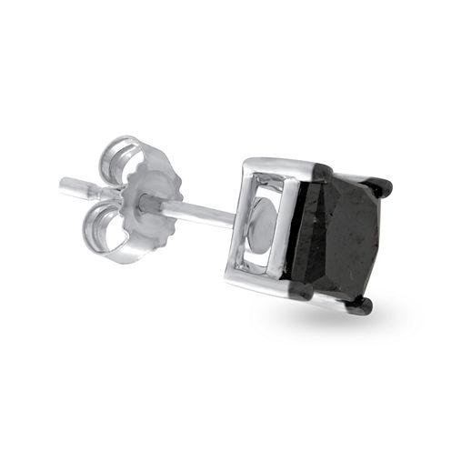 Mens 1/2 CT. T.W. Color-Enhanced Black Diamond 14K White Gold Stud Earring
