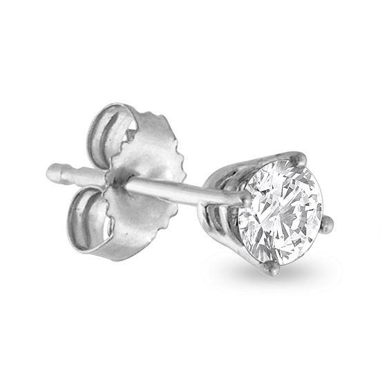 T W Diamond 14k White Gold Stud Earring