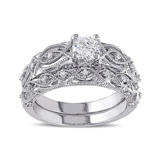 3 4 Ct Tw Diamond 10k White Gold Bridal Ring Set