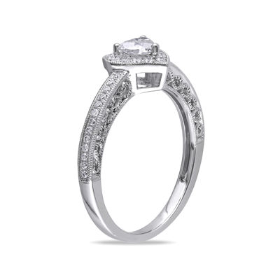 1/2 CT. T.W. Diamond 14K White Gold Heart Ring