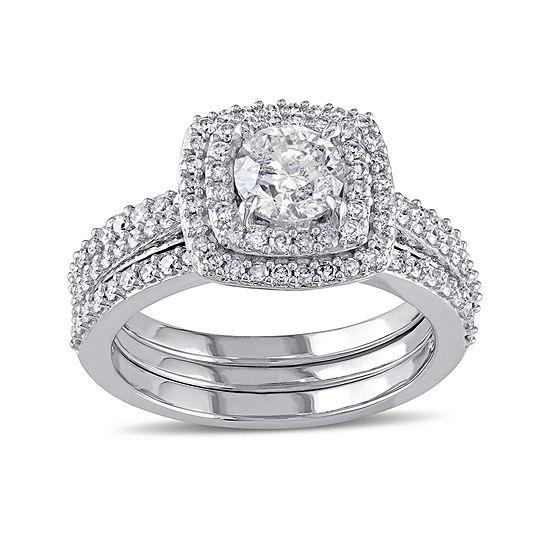 1 1/2 CT. T.W. Diamond 10K White Gold Ring Set