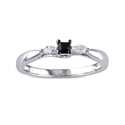 Midnight Black Diamond 1/4 CT. T.W. White and Color-Enhanced Black Diamond Engagement Ring