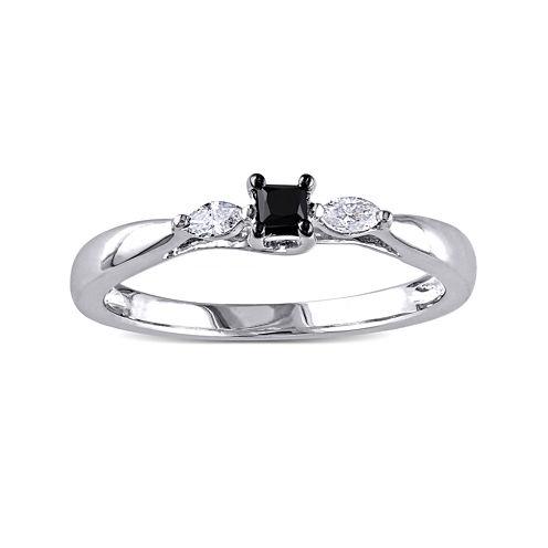 Midnight Black Diamond 1/4 CT. T.W. White and Color-Enhanced Black Diamond Engagement Ring