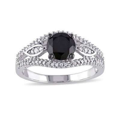Midnight Black Diamond 1 1/4 CT. T.W. White and Color-Enhanced Black Diamond 10K White Gold Vintage-Inspired Engagement Ring