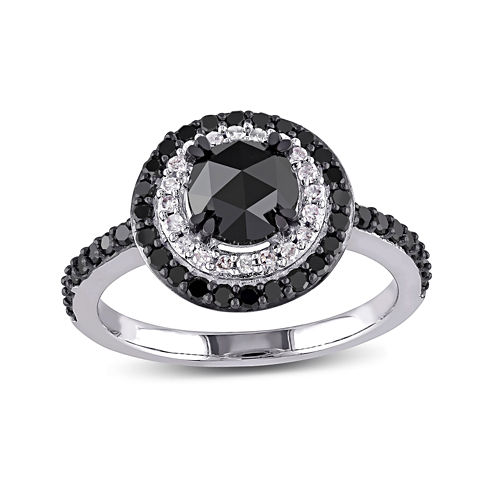 Midnight Black Diamond 1 1/2 CT. T.W. White and Color-Enhanced Black Diamond 10K White Gold Engagement Ring