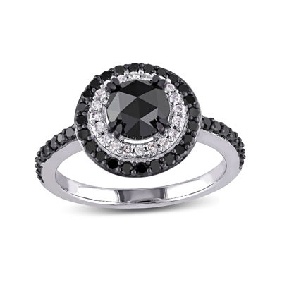 Midnight Black Diamond 1 1/2 CT. T.W. White and Color-Enhanced Black Diamond 10K White Gold Engagement Ring