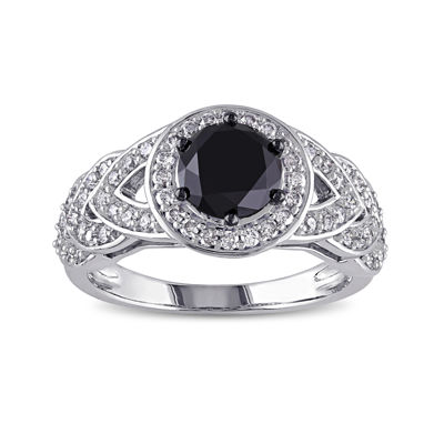 Midnight Black Diamond 2 CT. T.W. White and Color-Enhanced Black Diamond Engagement Ring