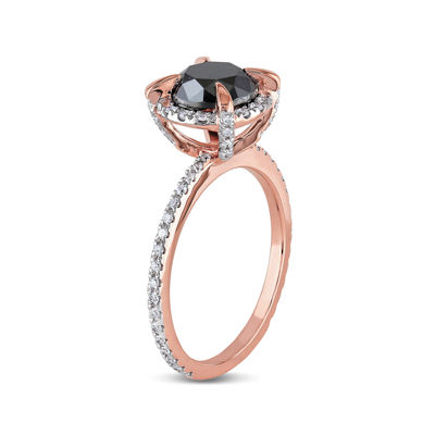 Midnight Black Diamond 2 CT. T.W. White and Black Diamond 10K Rose Gold Ring