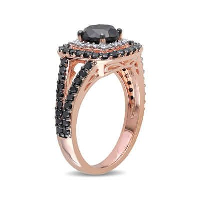 Midnight Black Diamond 2 CT. T.W. White and Color-Enhanced Black Diamond 14K Rose Gold Ring