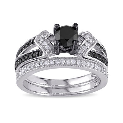 Midnight Black Diamond 1 1/8 CT. T.W. White and Color-Enhanced Black Diamond Sterling Silver Bridal Set