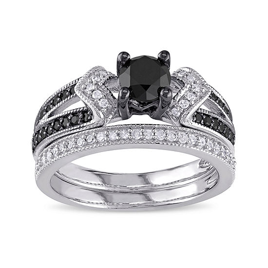 Midnight Black Diamond 1 1/8 CT. T.W. White and Color-Enhanced Black Diamond Sterling Silver Bridal Set