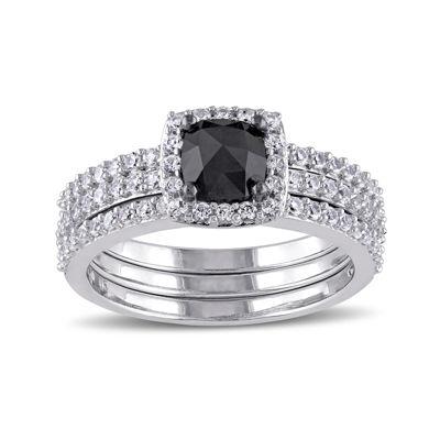 Midnight Black Diamond 1 1/2 CT. T.W. White and Color-Enhanced Black Diamond 10K White Gold Bridal Set