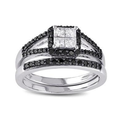 Midnight Black Diamond 5/8 CT. T.W. White and Color-Enhanced Black Diamond 10K White Gold Bridal Set