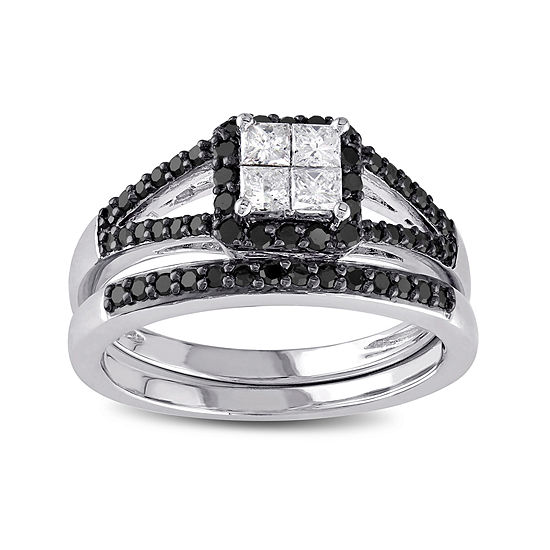 Midnight Black Diamond 5/8 CT. T.W. White and Color-Enhanced Black Diamond 10K White Gold Bridal Set