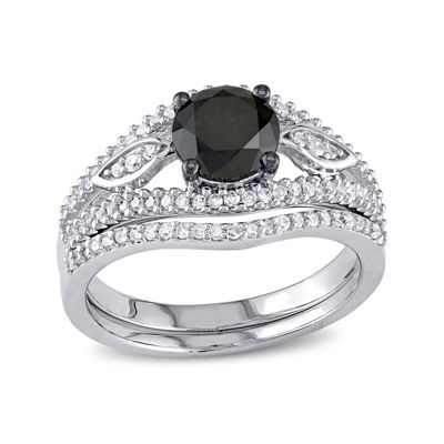 Midnight Black Diamond 1⅓ CT. T.W. White and Color-Enhanced Diamond Bridal Ring Set