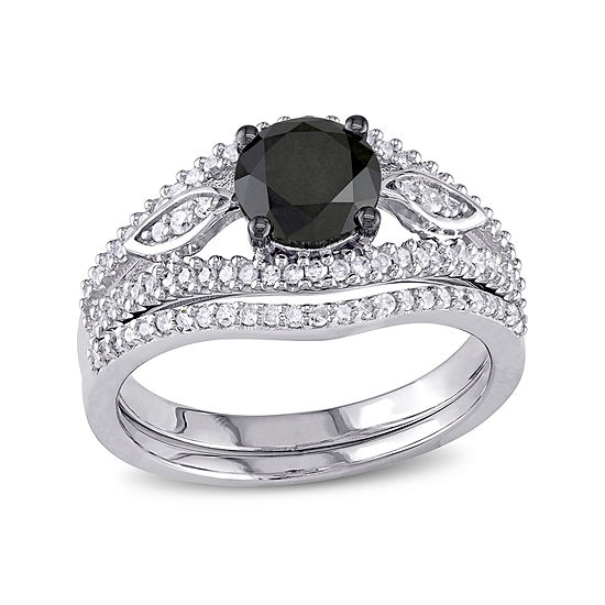 Midnight Black Diamond 1⅓ CT. T.W. White and Color-Enhanced Diamond Bridal Ring Set