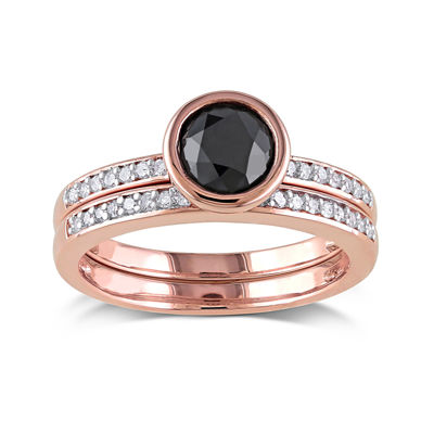 Midnight Black Diamond 1 1/8 CT. T W. White and Black Diamond 10K Rose Gold Bridal Set