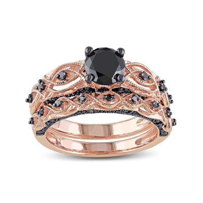 Midnight Black Diamond 1⅜ CT. T.W.  Black Diamond 10K Rose Gold Bridal Ring Set