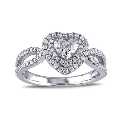 1 CT. T.W. Diamond 14K White Gold Openwork Heart Ring