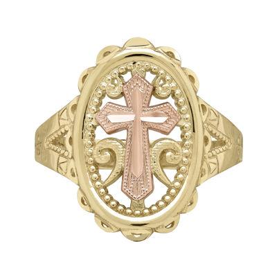 Tesoro™ 14K Two-Tone Gold Oval Cross Ring