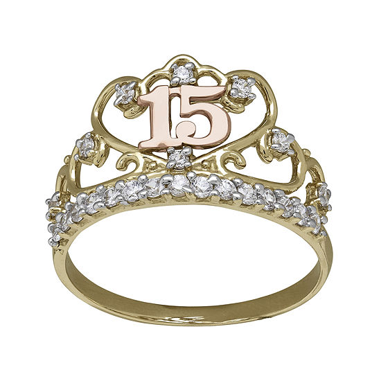 Tesoro™ Cubic Zirconia 14K Two-Tone 15 Quinceanera Ring