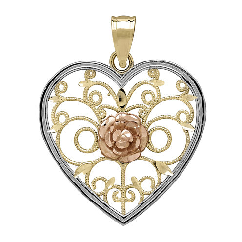 Tesoro™ 14K Two-Tone Gold Rose Filigree Heart Pendant