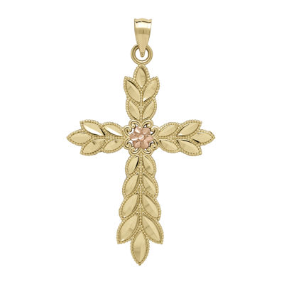 Tesoro™ 14K Two-Tone Leaf Cross Pendant