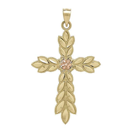 Tesoro™ 14K Two-Tone Leaf Cross Pendant