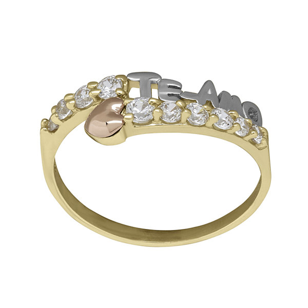"Tesoro™ Cubic Zirconia 14K Tri-Color Gold ""Te Amo"" Ring"