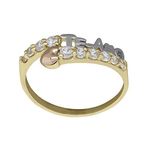 "Tesoro™ Cubic Zirconia 14K Tri-Color Gold ""Te Amo"" Ring"