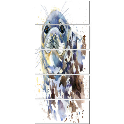Designart Blue Marine Seal Watercolor ContemporaryAnimal Art Canvas - 5 Panels