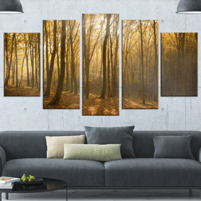 Designart Thick Green Fall Forest with Fog ForestWrapped Art Print - 5 Panels