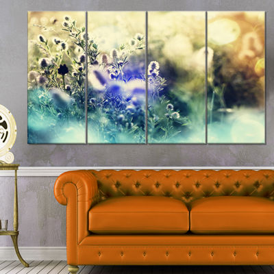 Designart Blue Mountain Meadow Flowers Floral Canvas Art Print - 4 Panels