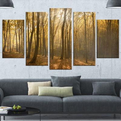Designart Thick Green Fall Forest with Fog ForestCanvas ArtPrint - 5 Panels