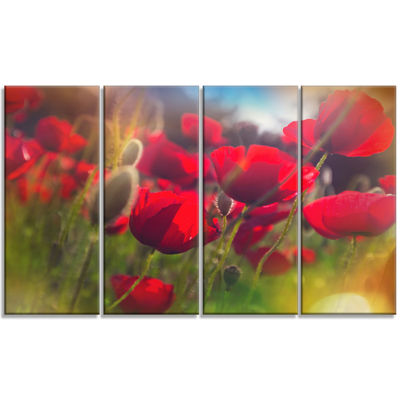 Designart Thick Red Poppy Flowers Floral Canvas Art Print -4 Panels