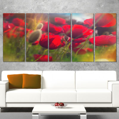 Designart Thick Red Poppy Flowers Floral Wrapped Art Print -5 Panels