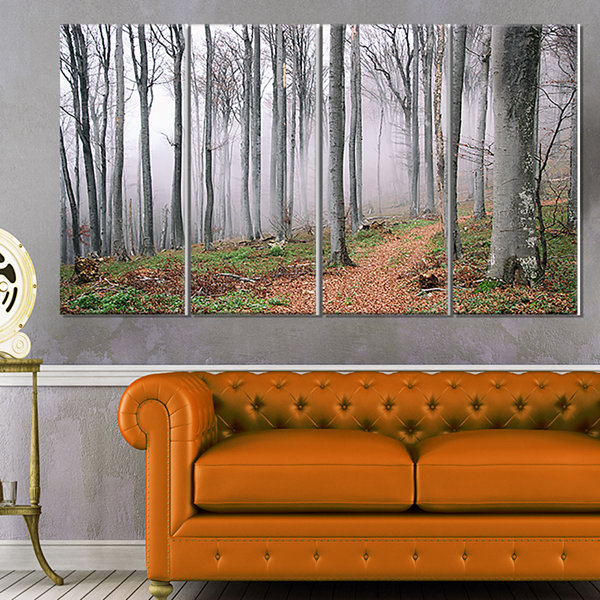 Designart Thick Woods in Morning Forest Modern Forest CanvasArt - 4 Panels