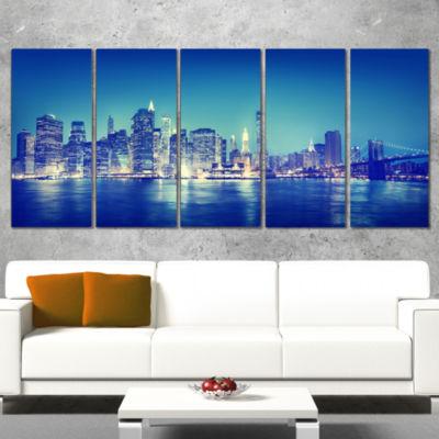 Designart Blue New York City at Night Panorama Cityscape Canvas Print - 4 Panels