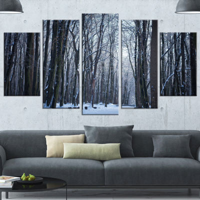Designart Thick Woods in Winter Forest Modern Forest CanvasArt - 4 Panels