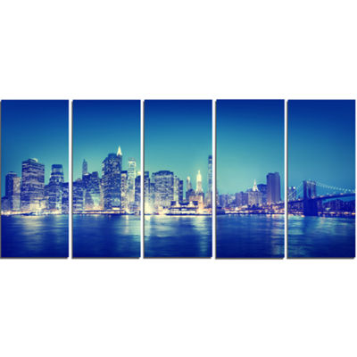Designart Blue New York City at Night Panorama Cityscape Canvas Print - 5 Panels