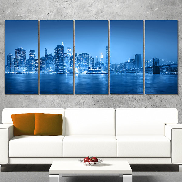 Designart Blue Panorama of New York City CityscapeCanvas Print - 4 Panels