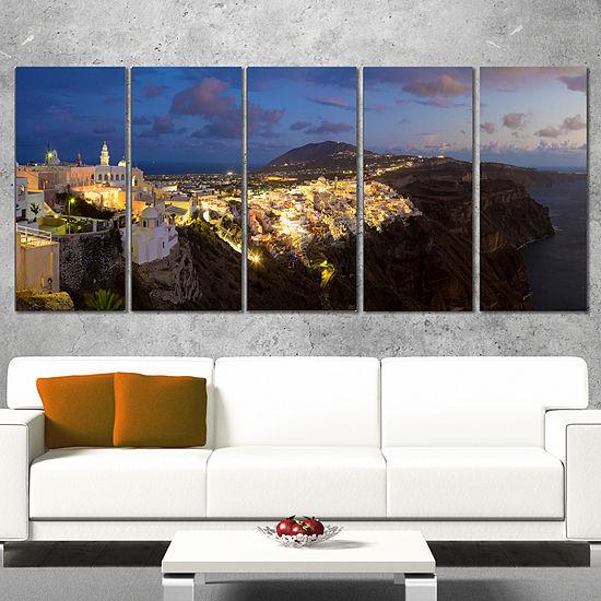 Designart Thira Santorini Greece Panorama Landscape Print Wall Artwork - 5 Panels