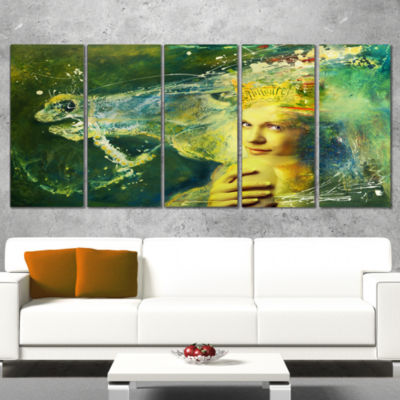 Designart Thoroughbred Horse and Woman Animal Canvas Wall Art - 4 Panels