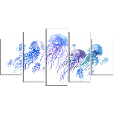 Designart Blue Purple Jellyfish Group Abstract Wrapped Canvas Art Print - 5 Panels