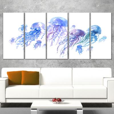 Designart Blue Purple Jellyfish Group Abstract Canvas Art Print - 5 Panels